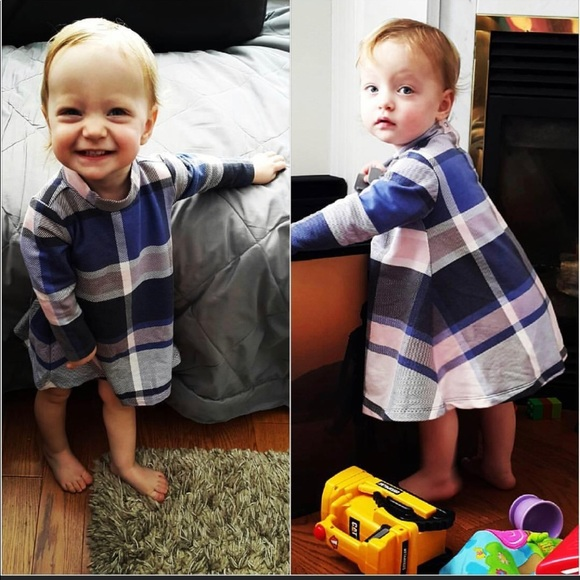 Old Navy Other - Old Navy cream,black and blue checker dress 6-12 M